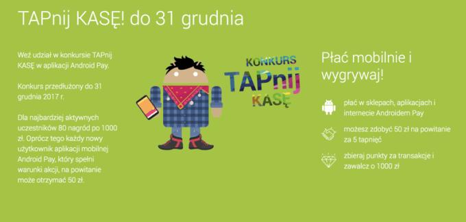 """Konkurs Alior Banku w aplikacji Android Pay """"TAPnij KASĘ"""" trwa do 31 grudnia 2017 r."""