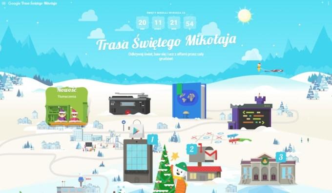 Trasa świętego Mikołaja w Google na 2017 rok - screen ze strony WWW