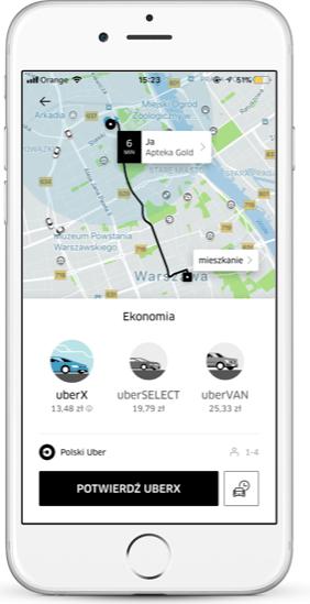 Screen aplikacji Uber z nowymi funkcjami