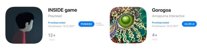 Widok aplikacji w przedsprzedaży (po lewej: bezpłatna, po prawej: płatna)