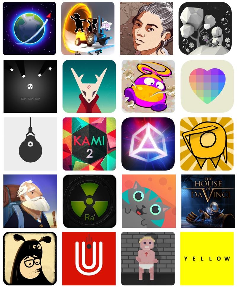 Ikony aplikacji 20 finalistów konkursu Google Play Indie Games Contest 2017