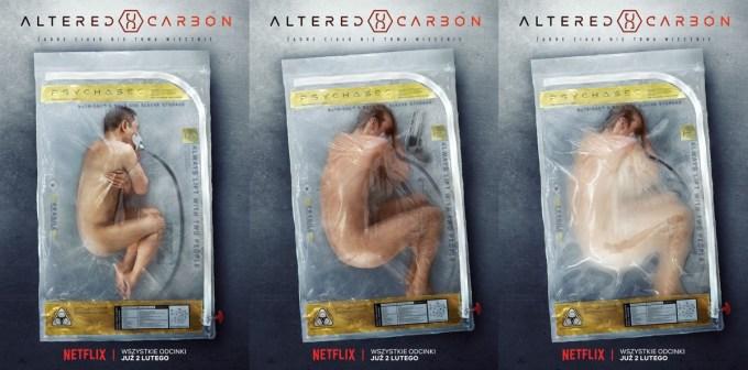 Plakaty serialu Altered Carbon (Modyfikowany węgiel) Netflix Polska