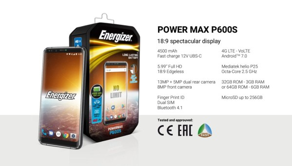 Smartfon Energizer Power Max P600S wygląda jak LG V30