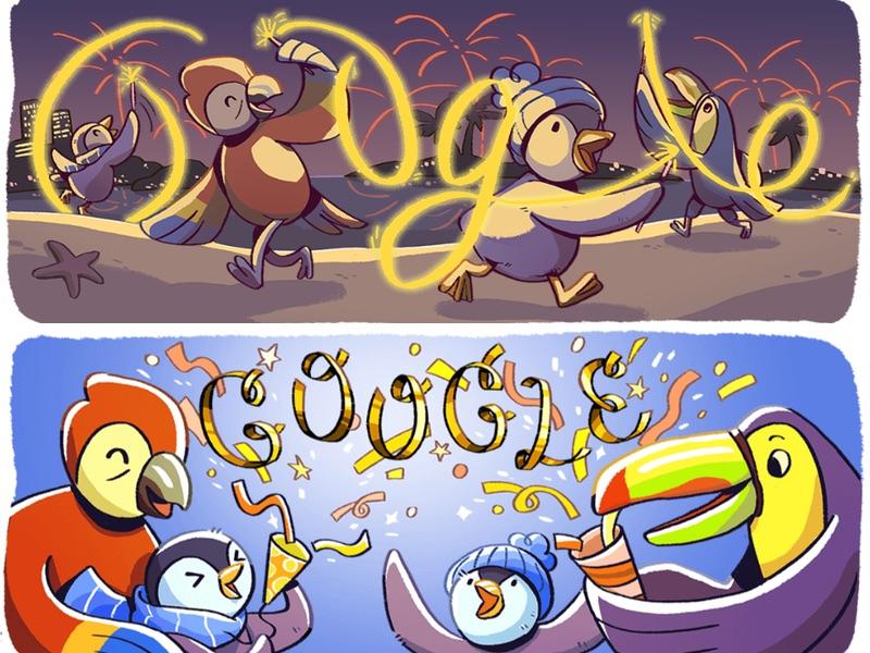 Google Doodle Sylwester 2017 i Nowy Rok 2018