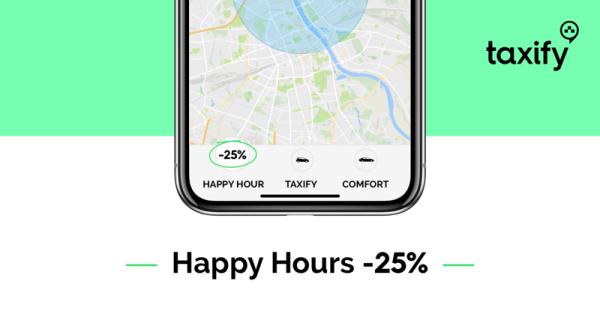 Happy Hours -25% w aplikacji mobilnej Taxify