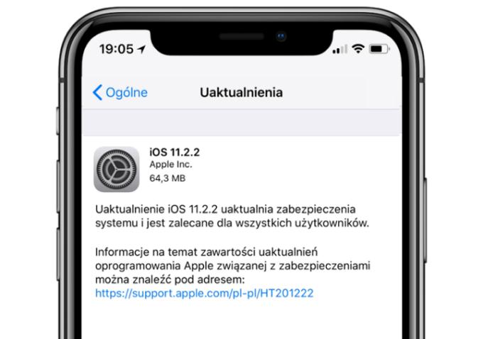 Uaktualnienie iOS 11.2.2 (tryb OTA)