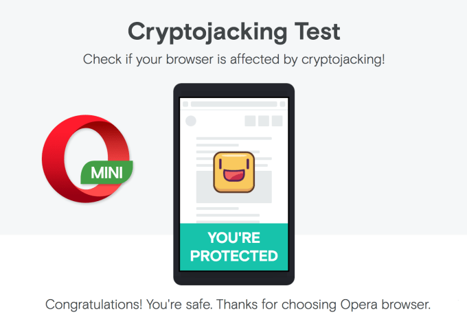 Opera Mini - cryptojacking protect