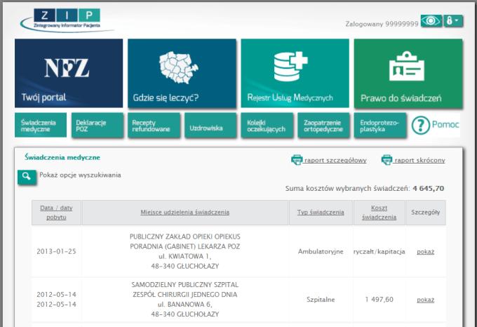 Screen systemu ZIP, czyli Zintegrowany Informator Pacjenta (DEMO)