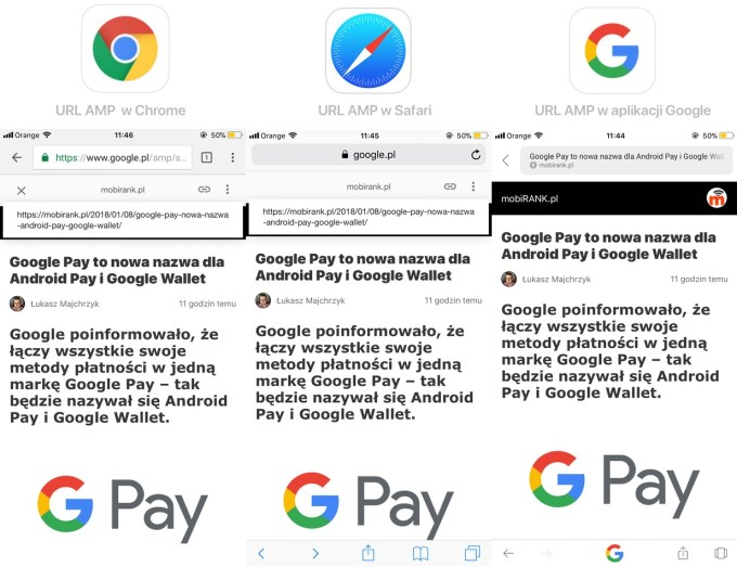 Wyświetlanie adresów URL dla stron AMP (Chrome, Safari, aplikacja mobilna Google)