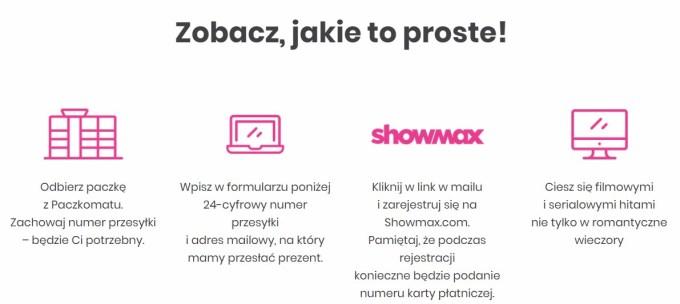 Jak otrzymać kod dostępu do Showmax (30 dni) odbierając przesyłkę z paczkomatu?