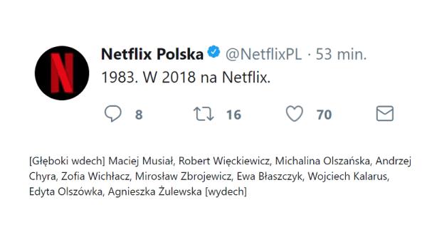 """""""1983"""" taki  będzie tytuł pierwszego polskiego serialu Netflixa"""
