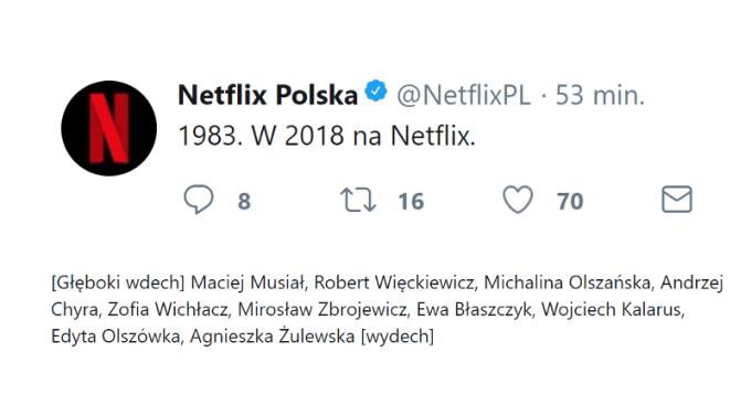 1983 - tytuł pierwszego polskiego serialu Netfliksa