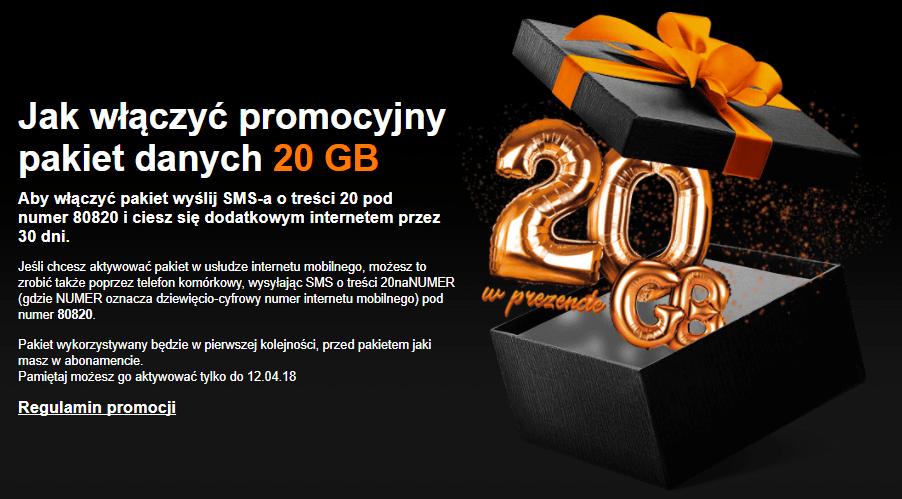 Jak włączyć promocyjny pakiet danych 20 GB w Orange?