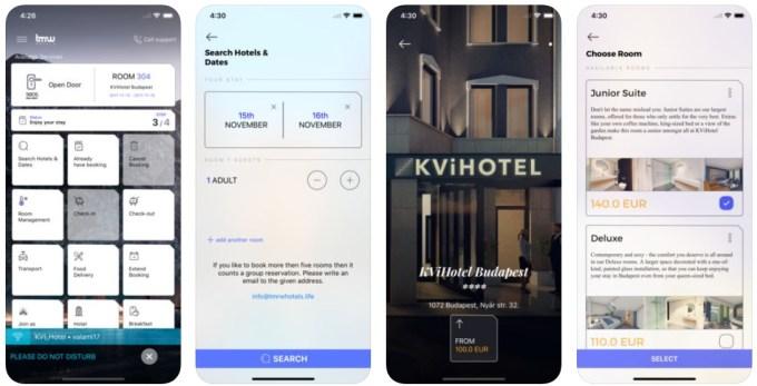 Aplikacja mobilna TMRW Hotels (zrzuty ekranu)