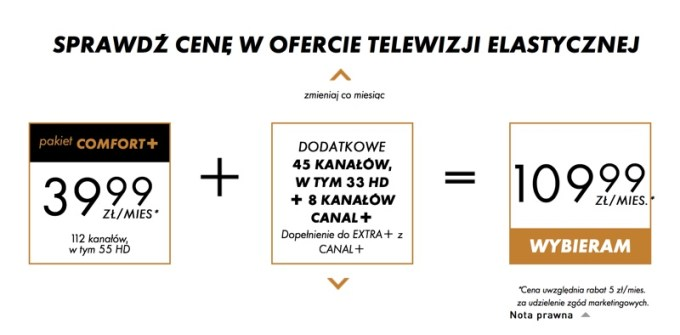"""Przykładowa cena pakietów w ofercie nc+ """"Telewizja elastyczna"""""""