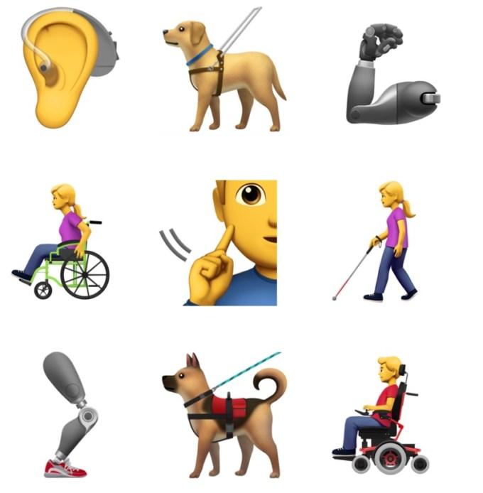 Przykłady Emoji reprezentujące niepełnosprawności