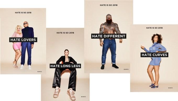 """Materiały drukowane kampanii """"Hate is so 2018"""" (fot. Bianco)"""