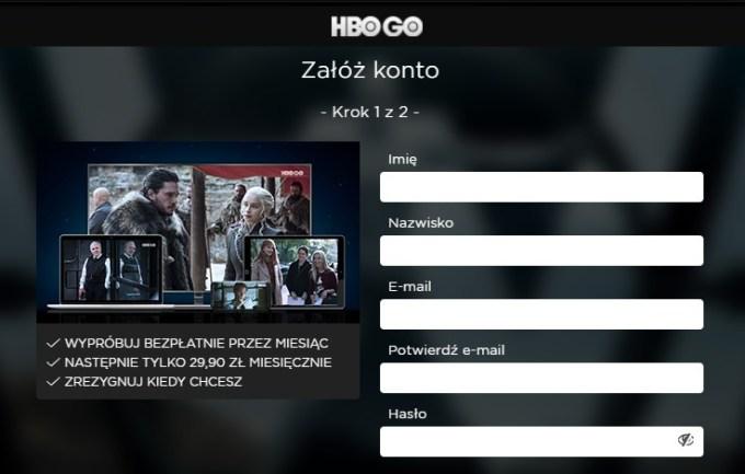 Rejestracja HBO GO i darmowy miesiąc