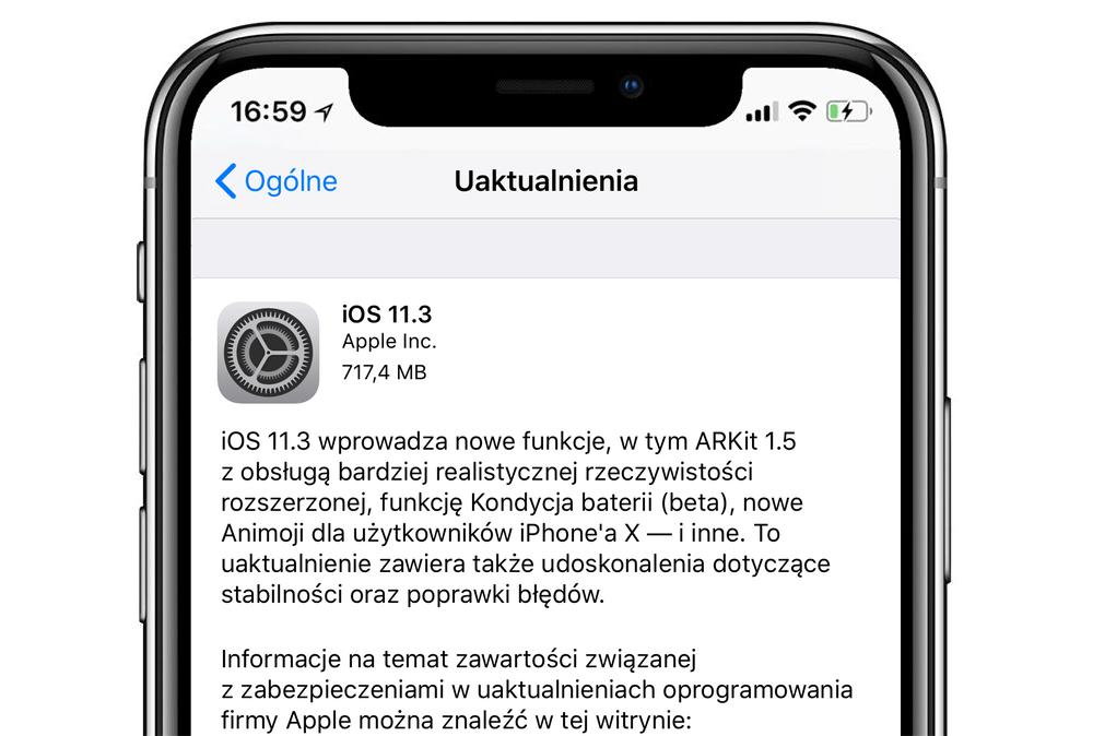iOS 11.3 update OTA - wersja finalna