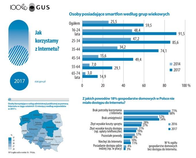 Jak Polacy korzystali z internetu w 2017 roku? (Raport GUS)