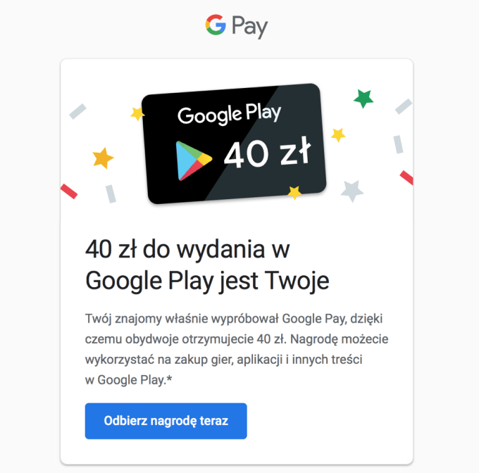 Karta podarunkowa od Google Pay o wartości 40 zł