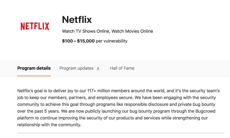 Bugcrowd: Netflix Public Bug Bounty Program (screen)