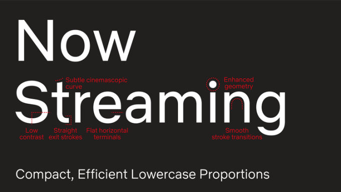 Napis Now Streaming napisany czcionką Netflix Sans