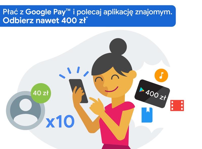 Polecaj znajomym Google Pay i wygrywaj nawet 400 zł na zakupy w Google Play!