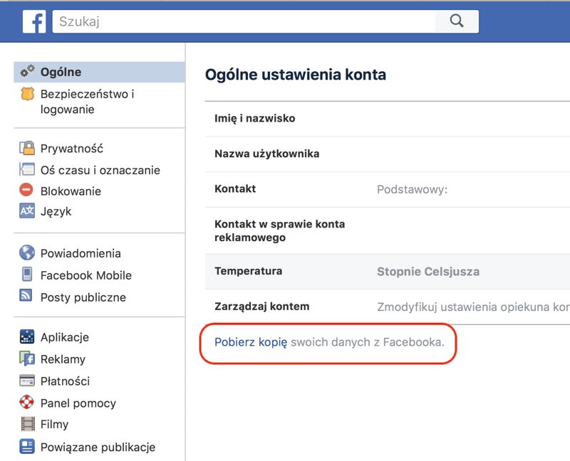 Pobierz kopie swoich danych z Facebooka (Ustawienia)