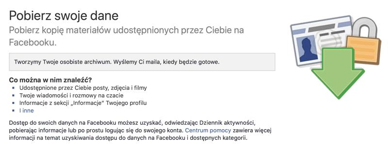 Przygotowywanie kopii danych z Facebooka