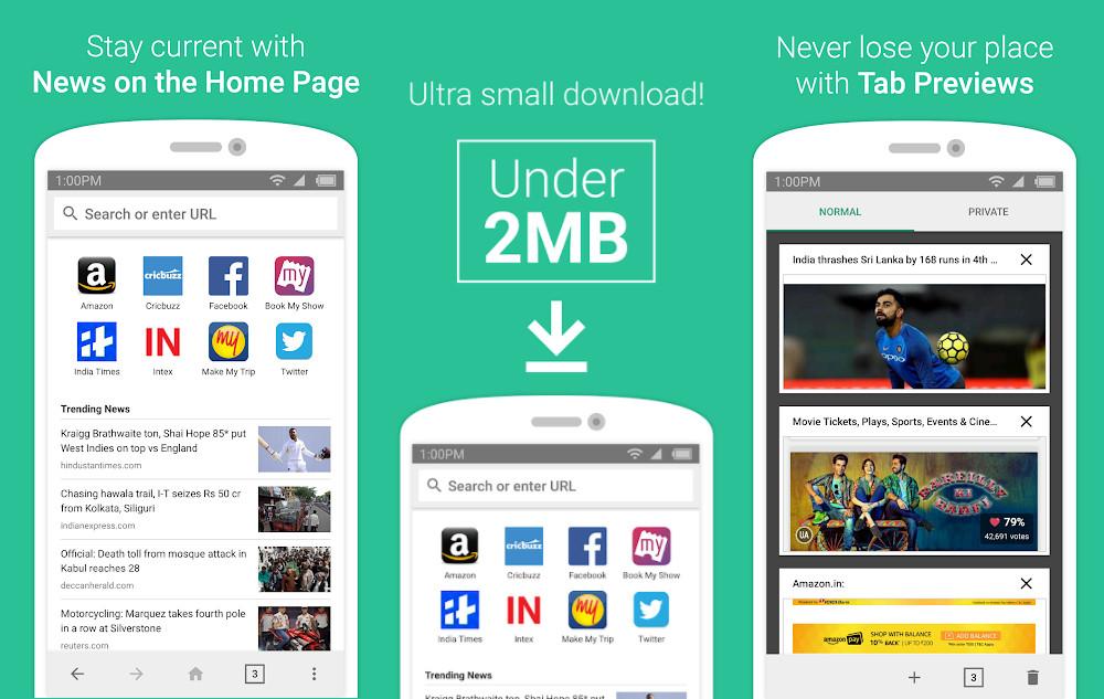 """ Internet: fast, lite, and private"" (Amazon mobile web browser, screen)"