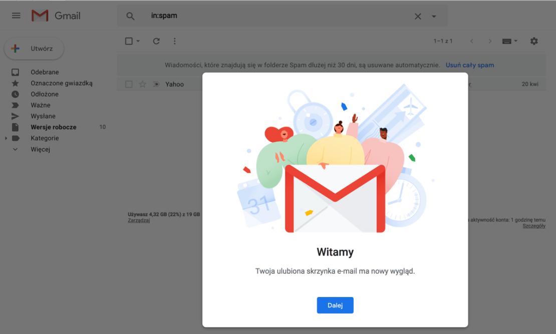Nowy widok Gmaila (zrzut ekranu)
