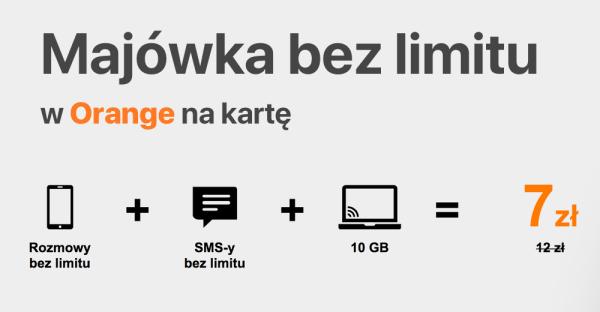 10 GB za 7 zł na majówkę w Orange na kartę [2018]