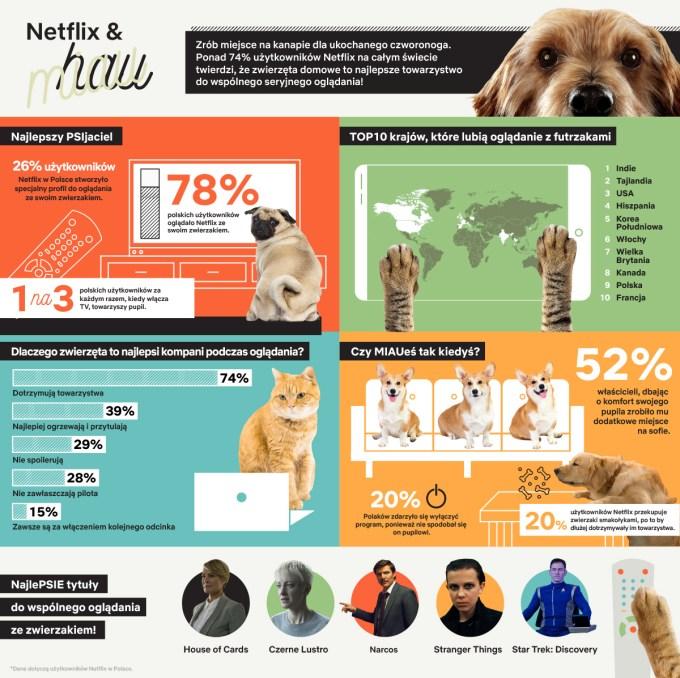 Infografika: Seryjne oglądanie Netfliksa ze zwierzetami