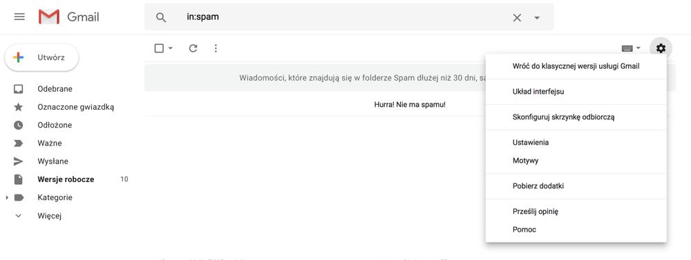 Wróć do klasycznej wersji usługi Gmail