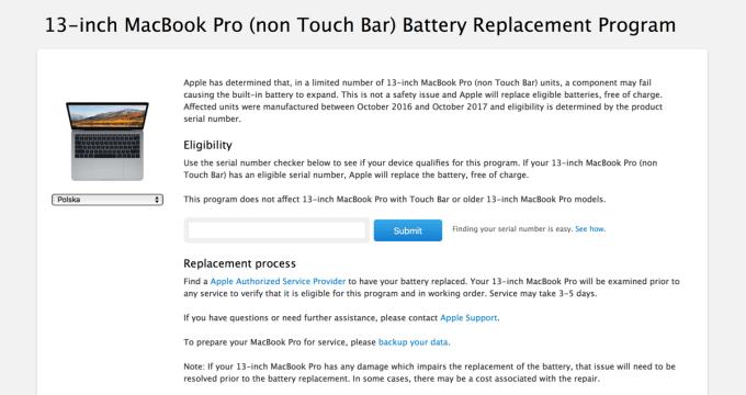 Program wymiany baterii MacBook Pro (13 cali, 2016/2017)