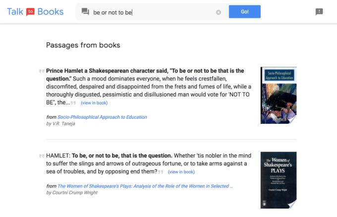 Talk to Books (przykładowe wyniki wyszukiwania senstencji w książkach)