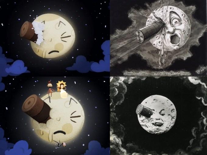 """""""Podróż na Księżyc"""" – Google Doodle (po lewej), oryginał (po prawej)"""