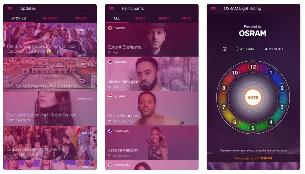 Screen aplikacji Eurovision Song Contest na smartfony