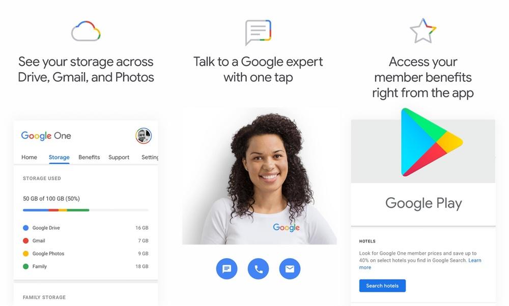 Zrzuty ekranu aplikacji mobilnej Google One na Androida
