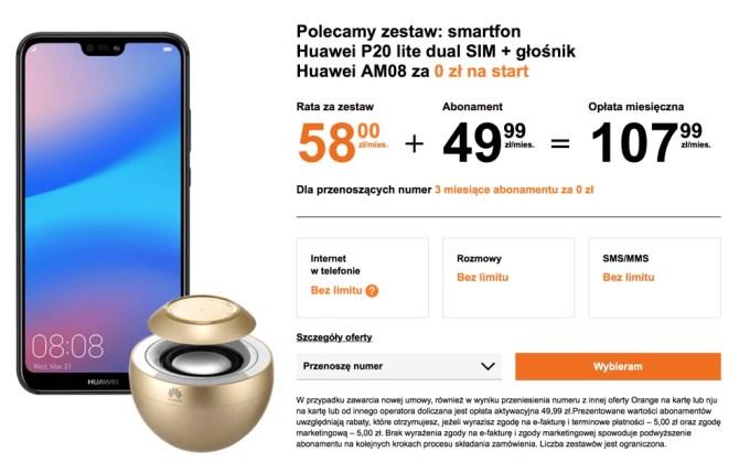 Huawei P20 lite dual SIM + głośnik Huawei AM08 za 0 zł na start