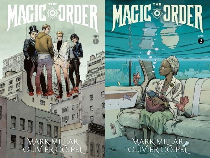 """Okładka 1 i 2 zeszytu komiksu """"The Magic Order"""" od Netfliksa"""
