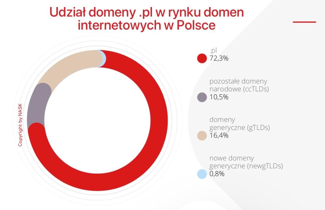 Udział domeny .pl w rynku domen internetowych w Polsce