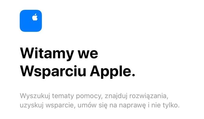 Aplikacja wsparcia Apple Support w języku polskim