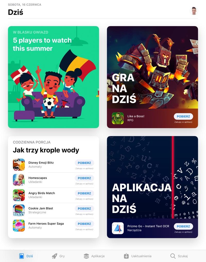 """Screen zakładki """"Dziś"""" w sklepie App Store (po polsku)"""