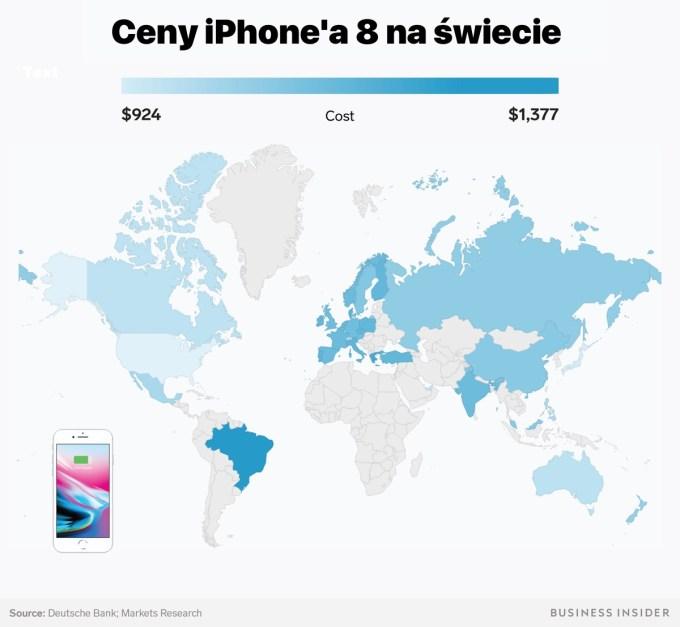 Ceny iPhone'8 na świecie (2018) - mapa