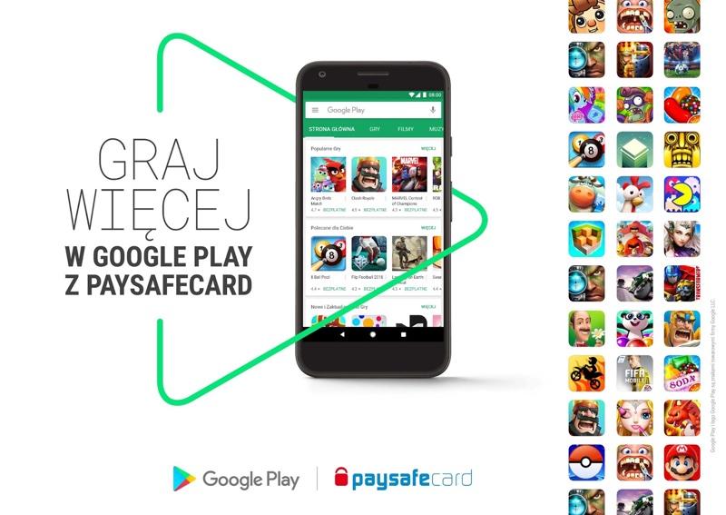 Płatności paysafecard w sklepie Google Play