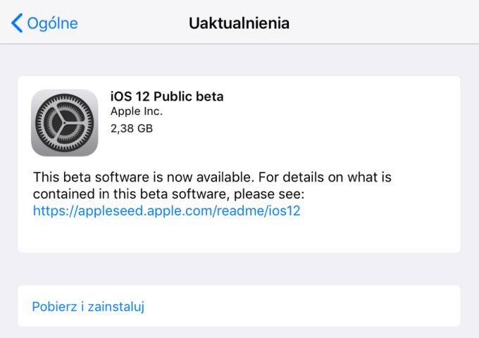 Uaktualnienie iOS 12 Public Beta 1 (w trybie OTA)