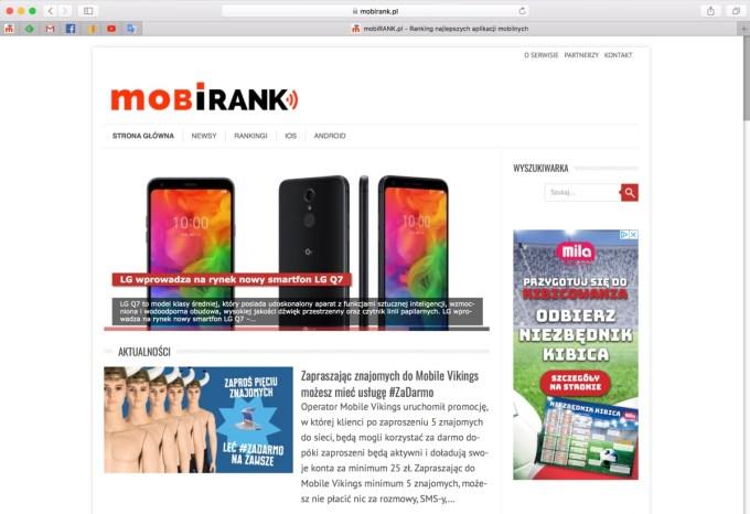 Screen Safari 12 (mobirank.pl) i kolorowe ikony witryn na zakładkach