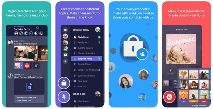 Zrzut ekranu aplikacji mobilnej Squirrel - Group Messaging  (od Yahoo)